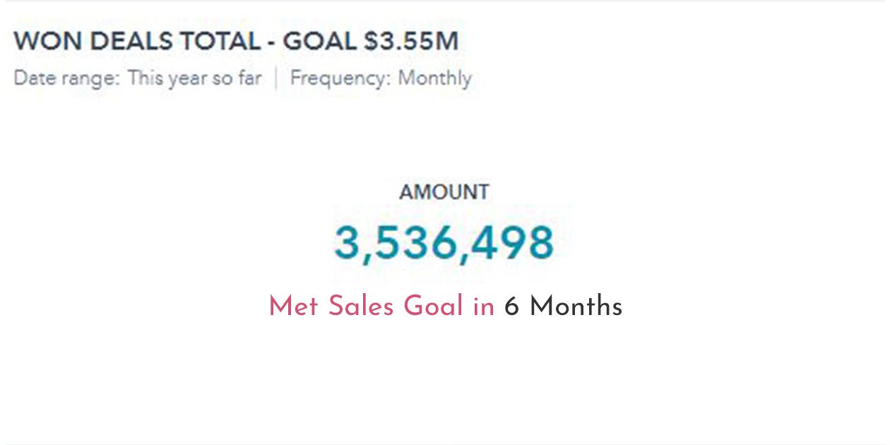 Met Sales Goal in 6 Months